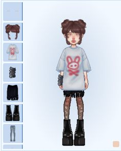 Fashion Design Sketchbook, Fashion Design Drawings, Edgy Outfits, Cute Outfits, Fashion Outfits, Girl Cartoon Characters, Hypnotized, Virtual Fashion, Cute Icons
