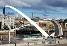 Gateshead Millennium Bridge is an amazing pedestrian and cyclist tilt bridge which is spanning the River Tyne in England.
