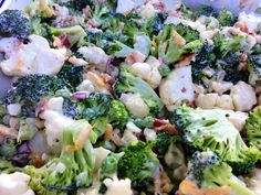 Broccoli Cauliflower Salad Recipe on Yummly. Broccoli Cole Slaw, Broccoli Cauliflower Salad, Pea Salad, Soup And Salad, Healthy Salads, Healthy Recipes, Kale Salads, Healthy Foods, Yummy Recipes