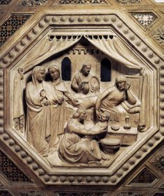 Andrea Orcagna, Birth of the Virgin, Tabernacle, 1359, marble and mosaic, Orsanmichele, Florence
