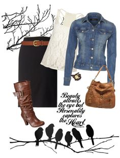 I like the skirt with the belt and the denim jacket- really cute with boots, but maybe different boots.