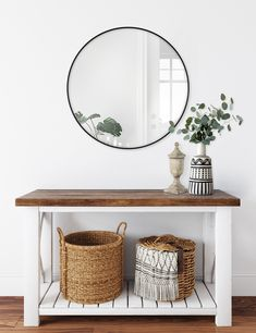 Better Homes & Gardens Black Round Metal Wall Mirror, 28 Inches
