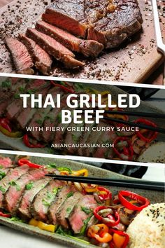 This Thai Grilled Beef with Green Curry Sauce will be on rotation in your kitchen for years to come! Tender beef, char-grilled bell peppers, and a fiery sauce are a flavor bomb in your mouth! Time to fire up the grill for this easy Asian lunch or dinner recipe that everyone will love! Healthy Thai Recipes, Asian Dinner Recipes, Spicy Recipes, Asian Recipes, Beef Recipes, Vegetarian Recipes, Grilled Bell Peppers, Stuffed Peppers, Green Curry Sauce