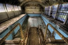 Abandoned swimming pool, Olympic Village, Berlin. I think this is so sad, yet beautiful.