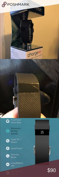 Fitbit charge hr Fitbit activity tracker/heart rate monitor. Download the app and it connects  wirelessly to your phone allowing  for caller ID and activity tracking on your phone.  I barely used this Fitbit but there is a small scratch on the screen (see pic) works perfectly. Fitbit  Accessories Watches