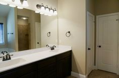 On Suite master bathroom, double vanity, walk in shower and soaking tub #mcbeehomes