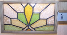 Old  SASH!! Vintage Leaded English stained glass window Macintosh Rose