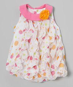 Pink Polka Dot Ruffle Yolk Dress - Infant by Baby Essentials #zulily #zulilyfinds