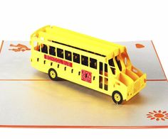 Bus Greeting Card/ 3D Pop Up Design Holiday Card (10pcs Pack)