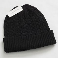 NWT MEN S ONE SIZE URBAN PIPLINE BLACK CABLE KNIT BEANIE CAP HAT RIBBED  CUFF  4e169e4f4236