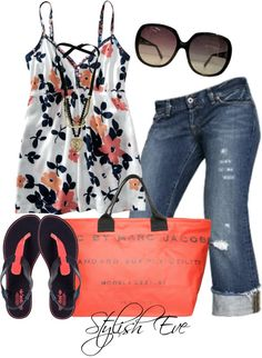 """Floral prints are cute to wear for a stone wall background or the beach, but would get busy in a garden setting. Select the right outfit for the right location! (""""Noha"""" by stylisheve on Polyvore)"""