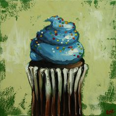 Cupcake painting 132 12x12 inch original still life oil от RozArt