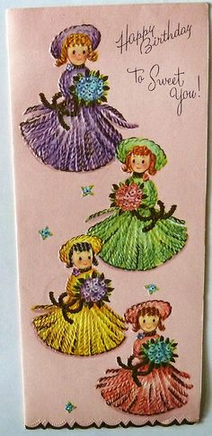 Vintage Birthday Card-Yarn Girls! by MissConduct*, via Flickr