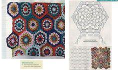 View album on Yandex. Hexagon Crochet Pattern, Crochet Hexagon Blanket, Granny Pattern, Big Knit Blanket, Crochet Motifs, Crochet Blocks, Crochet Chart, Crochet Squares, Crochet Blanket Patterns