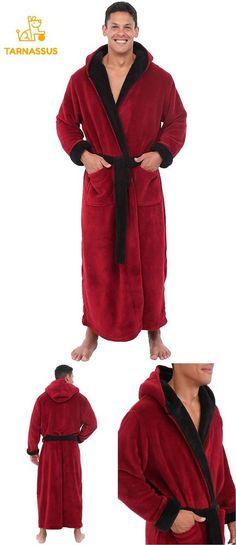 ecab89248b Alexander Del Rossa Mens Fleece Robe With Contrast Long Hooded Bathrobe   fashion  clothing