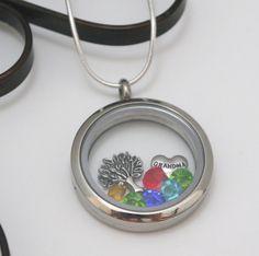 Personalized Gift for Grandma, Floating Charm Locket, Grandma Birthstone Locket, Nana, Mimi, Stainless Steel, Family Tree Locket, Custom