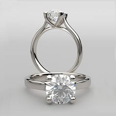 Brilliant Round Cut Sculptured Cathedral Design Solitaire Engagement Ring in SOLID 14K Gold