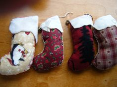 Hand Sewn Tree Ornaments Stocking Shape Choice of by gammiannes
