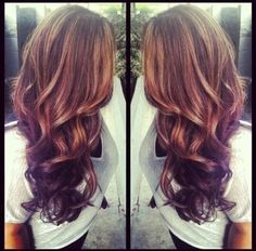 Brown hair with thick auburn highlights