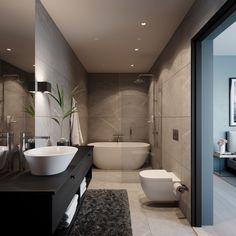 Modern Bathroom Tile, Bathroom Design Small, Bathroom Renos, Bathroom Interior Design, Dream Home Design, House Design, Simple Bedroom Design, House Extension Design, Restroom Remodel