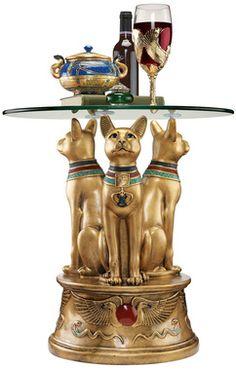 Royal Golden Bastet Egyptian Side Table