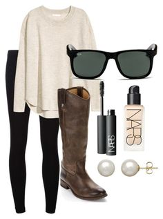 """""""Untitled #57"""" by s-oberlander on Polyvore featuring James Perse, H&M, Frye, Ray-Ban, NARS Cosmetics and Honora"""
