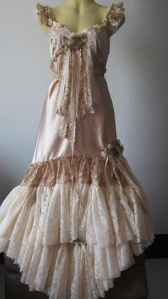 Romantic vintage inspired golden satin, lace, roses, vintage motifs and shabby from Etsy