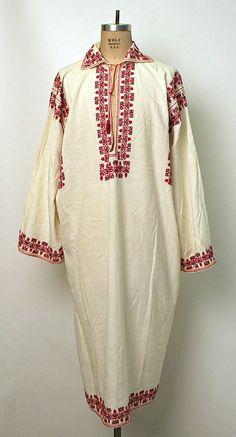 Shirt Date: Culture: Romanian Medium: cotton European Costumes, Folk Costume, Metropolitan Museum, Traditional Outfits, Kimono Top, Embroidery, Vintage Wardrobe, Cotton, Folklore