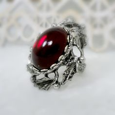 Gothic Cameo Ring Gothic Jewelry Ring Red Glass by pink80sgirl