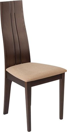 Essex Espresso Finish Wood Dining Chair with Brown Fabric Seat---Furnish your formal or informal dining room with this elegantly designed chair. Chair features a curved, double slit open designer back with silver accents. Dining Room Furniture Design, Wooden Dining Table Designs, Wood Chair Design, Wooden Dining Chairs, Luxury Home Furniture, Outdoor Dining Furniture, Apartment Furniture, Eames Chairs, Furniture Chairs