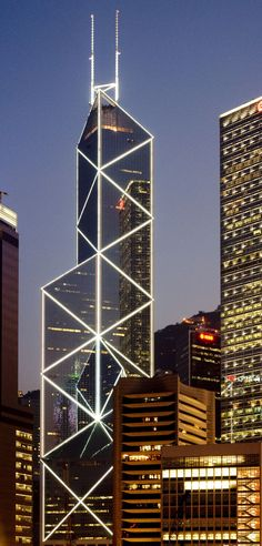 Bank of China Tower, Hong Kong by I.M. Pei & Partnersand Sherman Kung & Associates Architects :: 72 floors, height 367m