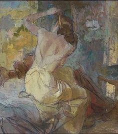 """John LaGatta(1894-1977), Seated woman in yellow tying up her hair.  Study for advertisement, Laros Lingerie, 1940s.  Oil on canvas, 34 x 30"""", not signed."""