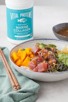 Gluten-Free Poké Bowls with Sesame-Ginger Sauce - Against All Grain Scd Recipes, Asian Recipes, Healthy Recipes, Healthy Dinners, Seafood Dishes, Seafood Recipes, Clean Eating, Healthy Eating, Healthy Food