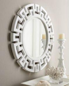 Horchow White Fretwork Mirror Look 4 Less Asian Mirrors, Round Mirrors, Diy Mirror, Mirror Art, Dresser Mirror, White Mirror, Hall Mirrors, Contemporary Wall Mirrors, Greek Key
