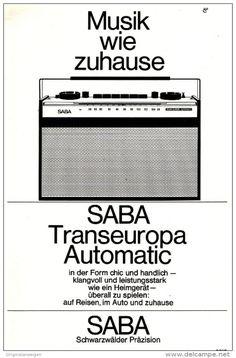 Original-Werbung/Anzeige 1964 - 1/1 SEITE - SABA TRANSEUROPA RADIO - ca. 160 x 230 mm