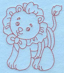 Baby Lion Redwork embroidery design