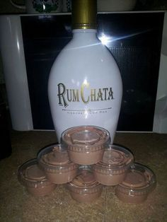 Girls night Mud Slide...... 1 - 4oz instant chocolate jello pudding, 1 cup Milk, 1 cup Rum Chata, and  1 - 8oz Cool Whip Mix milk, pudding and rum until thickened,  fold in cool whip, pour into plastic jello shot containers and place in freezer for couple hours....don't worry won't freeze cause of alcohol. Also be creative and try with butterscotch pudding, heard its delicious :)