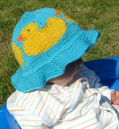Knitting Pattern for Rubber Duck Baby Sun Hat