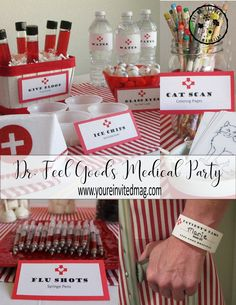 Feel Good's Medical Party – Youre Invited Magazine Nurse Party, College Graduation Parties, Graduation Party Decor, Nursing Graduation Gifts, Graduation Ideas, Doctor Party, Pinning Ceremony, Party Themes, Dr Feelgood