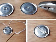簡単!くるみボタンに安全ピンでブローチにする作り方