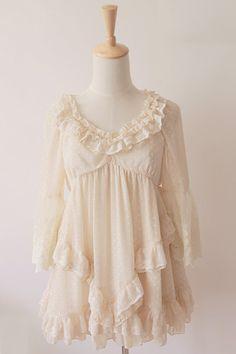 Material: Chiffon, Lace Bust: 90 cm Waist: 80 cm Length: 70 cm Sleeve Length: 45 cm  Model Info Height: 158 cm Bust: 80 cm Waist: 62 cm
