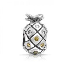 truecharms Silver Plated CZ April November Birthstone Pineapple Charm Beads Fits Pandora Jewelry Charms Bracelets - for boyfriend simple