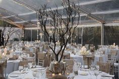 Manzanita Tree Centerpiece with hanging votives and crystal strands
