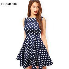 >> Click to Buy << Polka Dot Dress Summer Dress 2017 New Blue Print Sleeveless Fashion Vestidos Ball Gown Dresses Women Vintage Dress #Affiliate