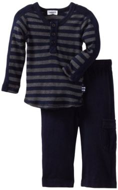 Amazon.com: Splendid Littles Baby-Boys Newborn Charcoal Stripe Thermal Henley Set: Clothing