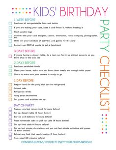 Kids birthday Party Checklist! With this checklist, you no longer have to wonder when to order the cake or when to send out the invitations, because it's all here. Just print out this list and you're ready to go! Timeline planning food prep to do list