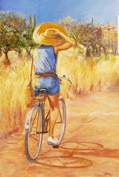 Ein Bild lädt den Betrachter auf einen Fahrrad Tour in der Toscana ein . Das Bild bring Licht zu jedem Raum! #Toscana #Fahrrad #Frühsommer #Ausflug #Tour #Toscana  #Malerei #impressionist Impressionist, Bicycles, Illustration, Painting, Painted Canvas, Bicycle, Painting Art, Kunst, Pictures
