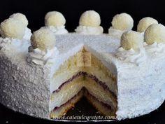 Tort Raffaello cu zmeura - imagine 1 mare Romanian Food, Healthy Beauty, Food Cakes, Coco, Cake Recipes, Cheesecake, Cooking Recipes, Yummy Food, Sweets