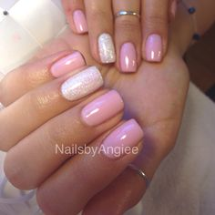 Happy spring light pink gel nail color with super shinny powder!!
