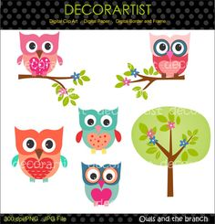 Digital clip art owls,Owls and the branch , owl clip art, instant download